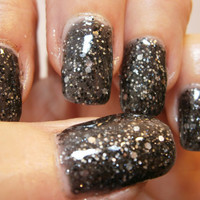 Rock Hard Nail Lacquer - Black Granite Glitter Custom Nail Polish - Full Size Bottle