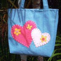 Small Denim Tote Bag Double Heart Tote
