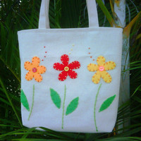 Small Canvas Tote Bag Triple Flower Tote