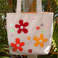 Small Canvas Tote Bag Butterfly Garden Tote