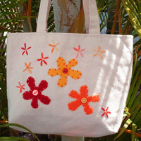 Small Canvas Tote Bag Orange Daisies Tote
