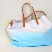 CANVAS TOTE BAG...Aquamarine (with leather strap)....medium size (featured on Etsy front page)