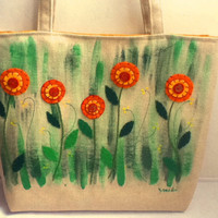Large Linen Tote Bag, Garden Flowers