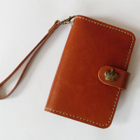 iPhone Wallet - iPhone 4 / 4s Leather Case with Crown Button Snap in Brown - Handmade and Hand Stitched - Free Monogram