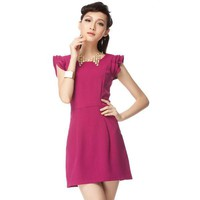 Summer Lady Lotus Sleeve Dress Rose - Designer Shoes|Bqueenshoes.com