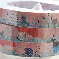 Raining day with cat Deco Tape adhesive Stickers DT300