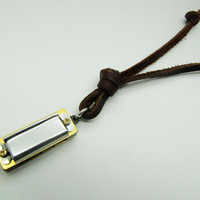 soft leather necklace,metal sounding harmonica pendant men leather necklace, women leather necklace   XL71