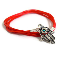 Sterling Silver Red protection Hamsa hand and Star of David bracelet