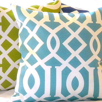 Modern Blue Trellis Indoor/Outdoor Pillow 16 X 16