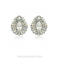 Silvertone Oval Swarovski Crystal Stud Earrings