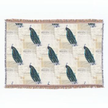 Vintage Peacock French Ephemera Throw Blanket