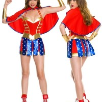 US Superwomen Costumes lzq, Red gold blue S M, very cheap sexy lingerie, cheap sexy costume, cheap halloween costume - Halloween Costumes HotSaleWear.Com