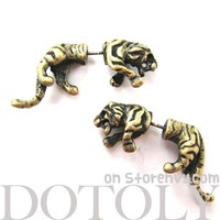 3D Fake Gauge Realistic Tiger Cat Animal Stud Earrings in Bronze