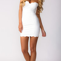 SWEET ENIGMA BODYCON DRESS IN WHITE