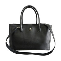 Chanel Cerf tote bag - black with silvertone hardware