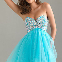 Strapless Beaded Party Dress by Night Moves