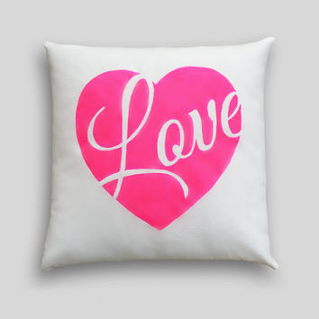 NEON Heart Cushion Cover, Choose your colour Hand painted, Pillow. Pink Yellow Heart LOVE Bedroom…