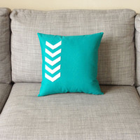 Chevron Arrow Pillow CUSTOM COLOR Teal and White
