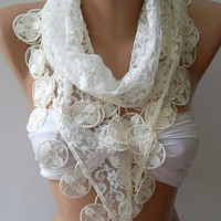 White - Elegance  Shawl / Scarf with Lacy Edge,,