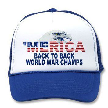 'MERICA Back To Back World War Champs Eagle Hat from Zazzle.com