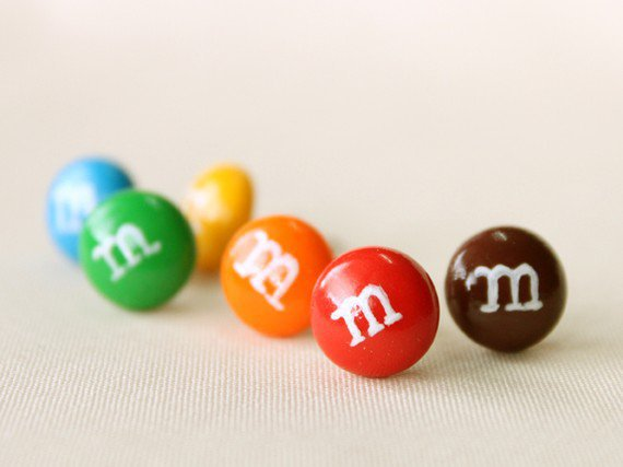 M &amp; M Ear Studs Set of 6 by CoralinesAccessories on Etsy