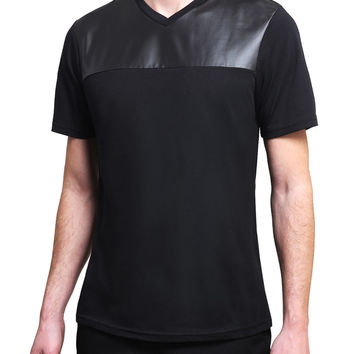 Mens Premium Faux Leather Short Sleeve V Neck T Shirt