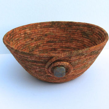 Copper Coiled Fabric Bowl Basket