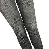 Black Blues Faded Denim Spandex Jeggings Leggings