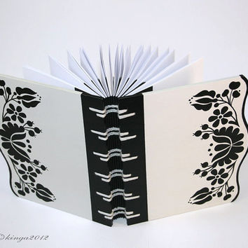 Wood Covered Journal with folk art motive- black&white