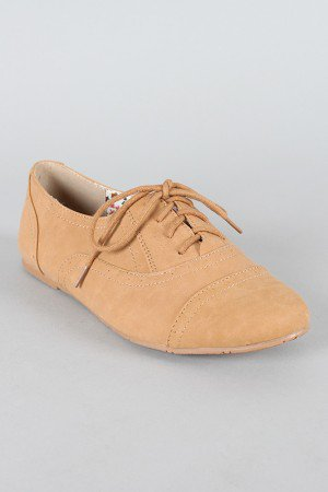 Cambridge-03 Nubuck Lace Up Oxford Flat