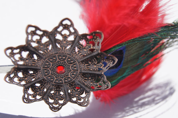 Steam punk red feathered peacock headband