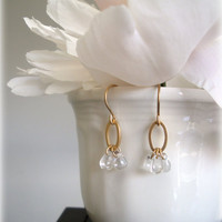 Golden Dew drops-Romantic 16k goldplated earrings-czech clear glass drops. gift for her.