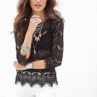 FOREVER 21 Eyelash Lace Top Black