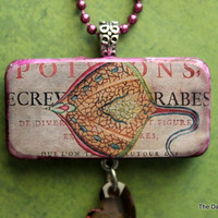 Sweet Little Stingray Altered Art Domino Necklace