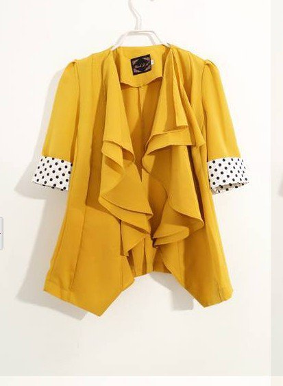 New Yellow Blue Ruffles Modern Chic Blazer