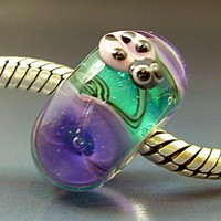 Ladybug & Purple Flowers Pandora Trollbeads Handmade Lampwork European Charm Big Hole Bead SRA Gelly