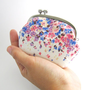silver frame coin purse- flowers on white