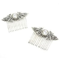 Gothic Lolita Inspired Fairytale Wedding Hair Combs with Clock Cameos by Ghostlove