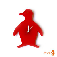 Red Penguin Wall Hanging Clock