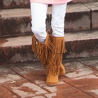 Fringe Moccasin Boots Tan