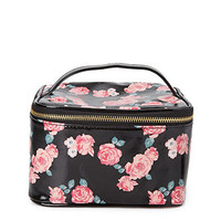 Rose Print Travel Cosmetic Case