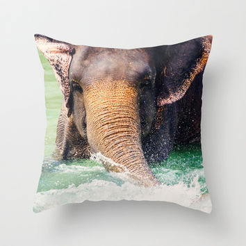 Elephant Splash Throw Pillow by Pati Designs | Society6