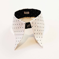 Cream white and black collar, cotton, polka dot, Karl Lagerfeld style