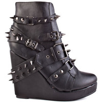 Abbey Dawn - 109 Studded Wedge - Black