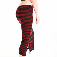 Black & Red women long Skirt, elasticated waist line, unique OOAK