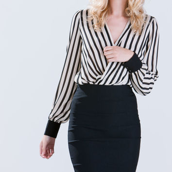 Stripe Your Fancy Surplice Blouse
