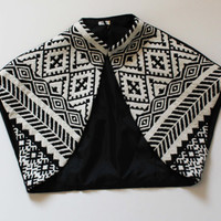 Ethnic Style Black and White Fantastic Bolero/Vest