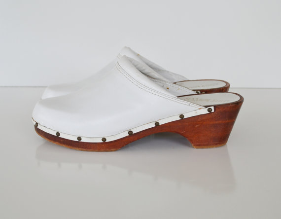 Vintage White Clog Shoes Sam and Libby Clog Shoes