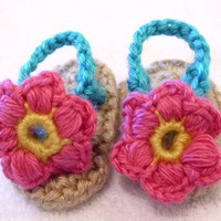 Pink Flower Baby Flip Flops by SassyMcTaffy on Etsy