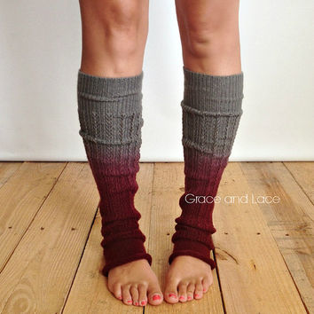 Ombre Leg warmers : WINE leg warmers dip dyed ombre legwarmers – legwarmers boot socks boot warmers…